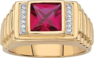 Men's 18K Yellow Gold over Sterling Silver Square Cut Created Red Ruby and Diamond Accent Ring