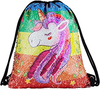 Sequin Drawstring Backpack Bag Mermaid Gym Dance Bags Magic Reversible Glitter Bag Unicorn Gift for Girls Daughter Boy Flip Sequin Bag Birthday Gift for Kids Teen