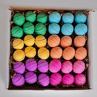 Rainbow Colours Bath Bombs Gift Set - 36 Mini Bath Bombs for Kids, Women and Men. Handmade Natural Bath Bombs with Shea Bu...