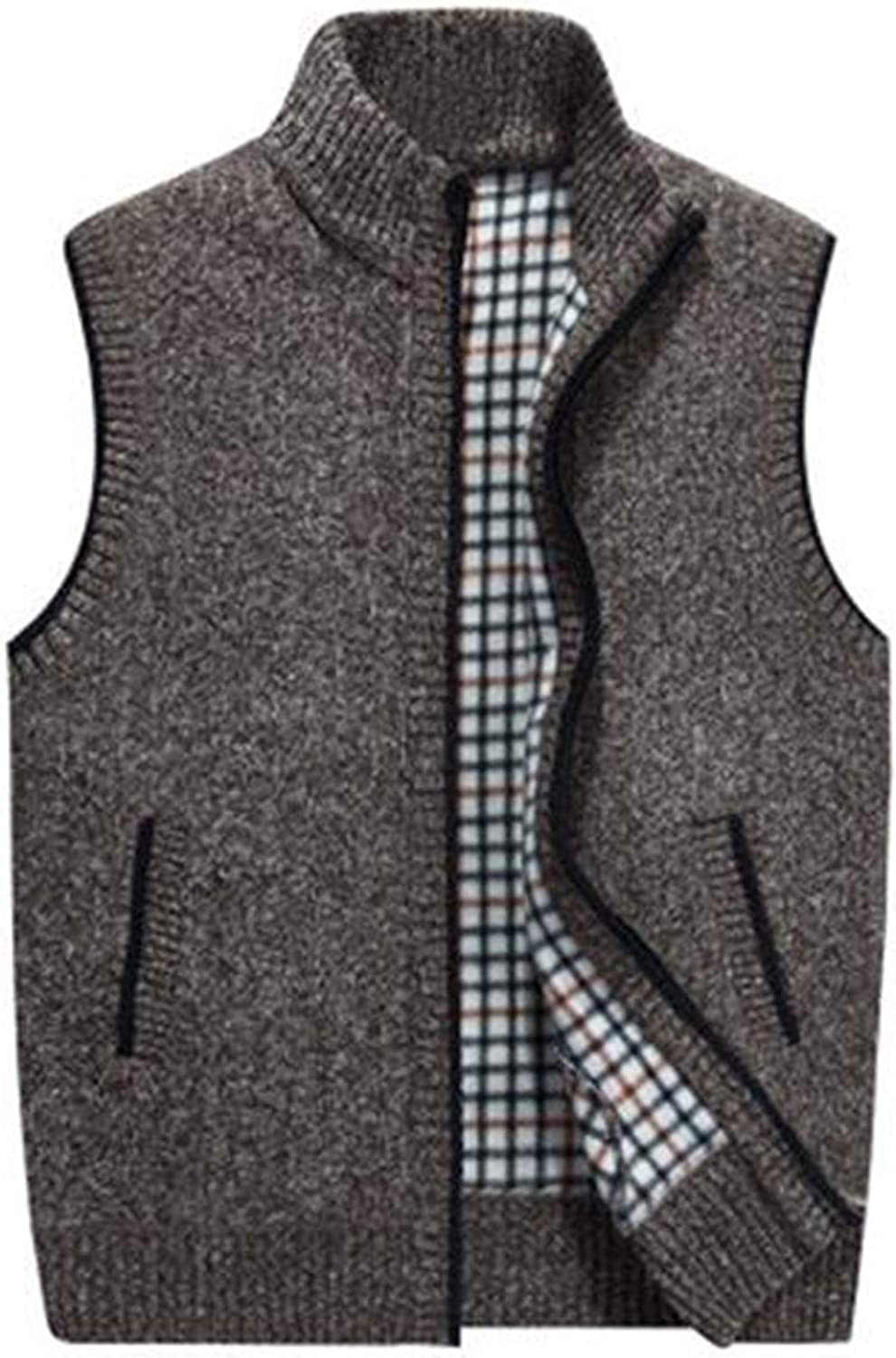 Lentta Men's Casual Classic Zipper Stand Collar Sleeveless Knit Vest Gilet with Pockets