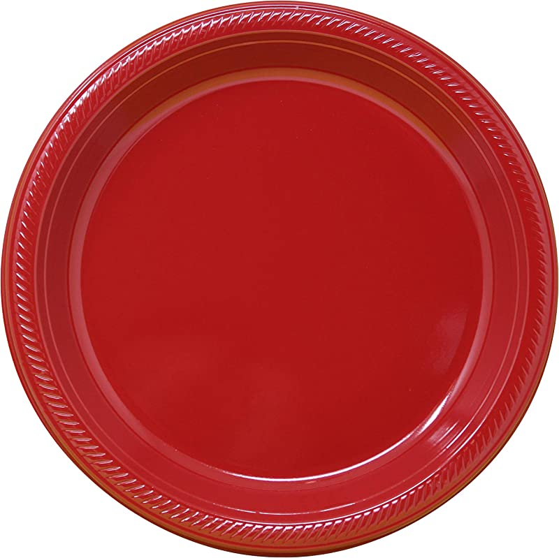 10 Heavy Duty Plastic Disposable Plates Classic Red Pack Of 50 Great For Parties