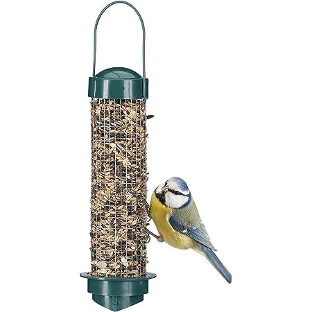 Relaxdays Mangeoire à oiseaux, Distributeur de graines en silo, jardin ou balcon, PP + fer, H x D : 35 x 9 cm, vert
