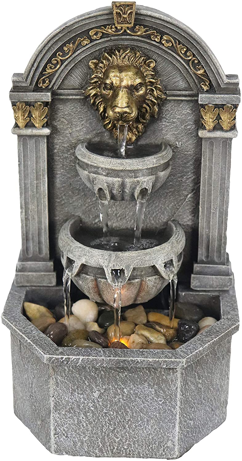 Warm Garden Lion's Head Fountain Relaxation Fountain for Interior Decoration Indoor Fountain Tabletop Fountains: Home & Kitchen