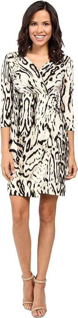 3/4 Sleeve Cheetah Faux Wap Dress
