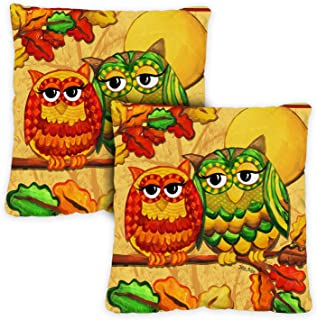 Toland Home Garden 761274 Fall Owls 18 x 18 Inch Indoor/Outdoor, Pillow Case (2-Pack)