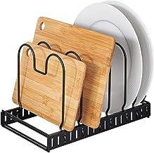 WENKO Deksel- en pannenhouder, uittrekbare serviesstandaard voor deksel en pannen, gepoedercoat metaal, 30-57 x 18 x 18 c...