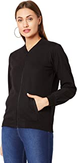 Miss Chase Women's Black Solid Ribbed Bomber Jacket
