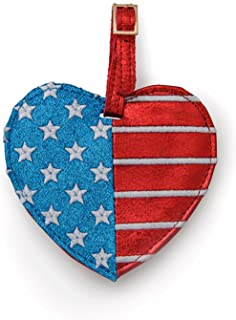 Miamica Women's Flag-Heart Luggage Tag Travel Accessories, Red, White & Blue, One Size