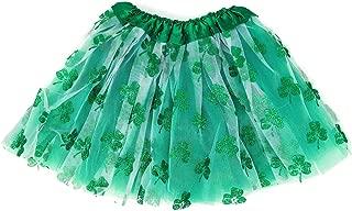 Rush Dance Ballerina St Patrick's Day Parade Shamrock Clover Costume Tutu (Kids (2-8 Years), White Green Shamrock)