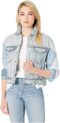 Denim Jacket with Quilted Patwork Detail in Wild Meadow