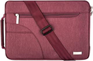 MOSISO Laptop Shoulder Bag for 15-15.6 Inch MacBook Pro, Ultrabook Netbook Tablet, Polyester Ultraportable Protective Briefcase Carrying Handbag Sleeve Case Cover, Wine Red