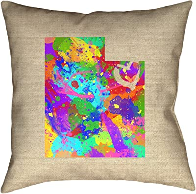 ArtVerse Katelyn Smith 14 x 14 Spun Polyester Kansas Watercolor Pillow