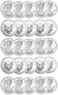 Houseables Coin Holder, Silver Eagle Protector, 40 mm, 25 Pack, Plastic, Clear, Air Tite Dollar Coins Capsules, American Collectors Cases, Collection Supplies, Tight Treasures Storage Containers