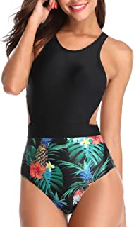 Women One Piece Tropical Printed Swimsuit High Neck Cutout Zip Monokini