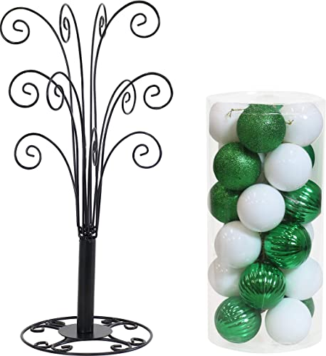 new arrival Sunnydaze 20-Inch Tall Gloria Black Metal Decorative Ornament Stand high quality and 24-Count Set of 60mm Merry Medley White/Green Shatterproof Christmas Ball Ornaments online with Hooks Bundle outlet online sale