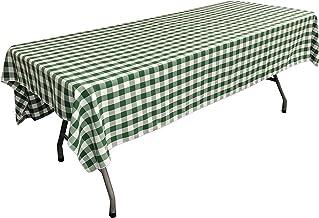 مفرش طاولة LA Linen مستطيل الشكل مقاس 152.4 سم × 274.4 سم، أخضر داكن وأبيض