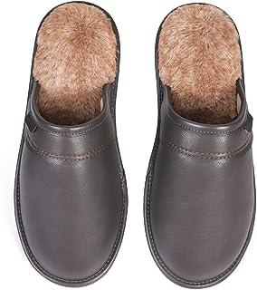 VeraCosy Men's Fluffy Leather Memory Foam Scuff Mule Slippers