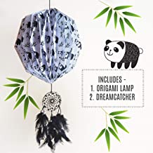 Acel Rivers Cute Panda Origami Hanging Lamp Shade with Dream Catcher (Multicolour)