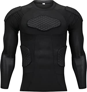Shorts 2pcs Padded Protective For Child And Adult Color : Black, Size : L YSPORT Anti-collision Goalkeeper Uniform Football Long Sleeve Tops