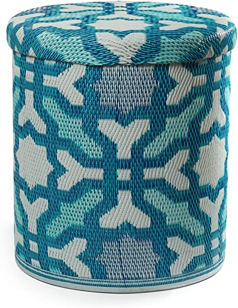 Fab Habitat Handmade Indoor Outdoor Storage Pouf Stackable Multicolor Blue Seville