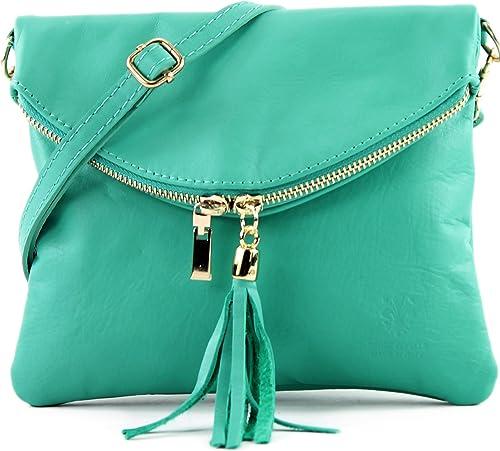 modamoda de, borsa da donna a tracolla,pochette, in vera pelle, acquamarina t139a-aqua
