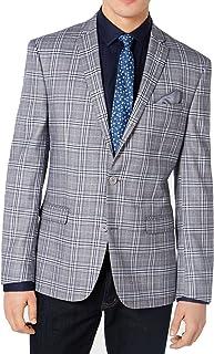 Bar III Homme Coupe Slim Pardessus Laine Mélangée Manteau Veste bleu royal 44R RRP 350 $