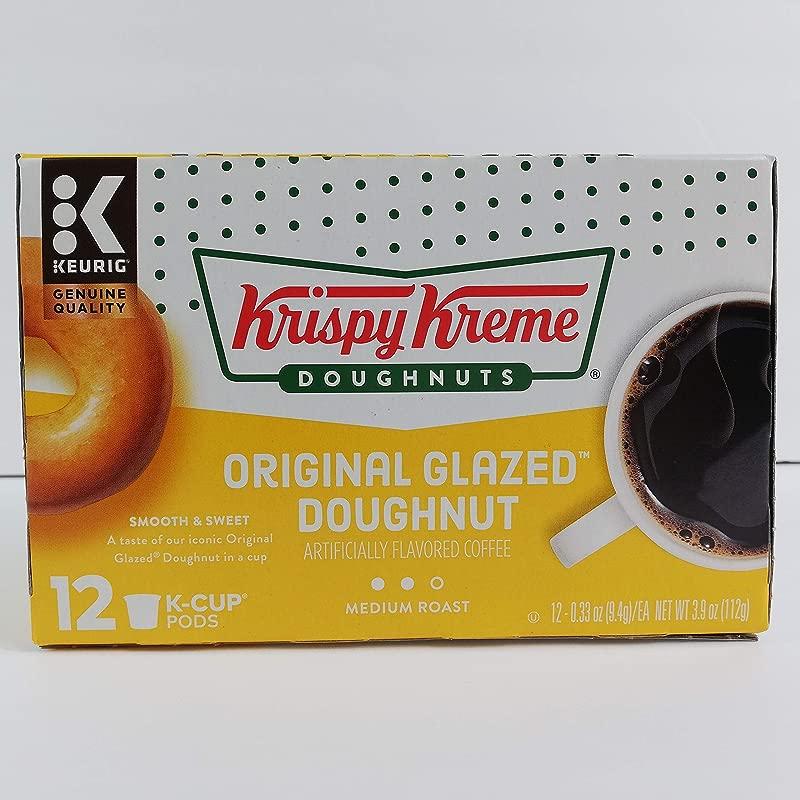 Krispy Kreme Original Glazed Doughnut Coffee Single Serve Capsules For Keurig K Cup Pod Brewers 12 Count