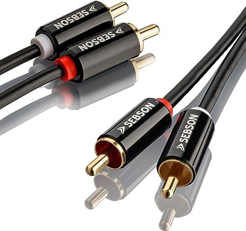 SEBSON Cable RCA 5m (Macho/Macho), 2 Conector RCA a 2 Conector RCA (Rojo Blanco), Cable Estéreo Audio AUX para Amplif...