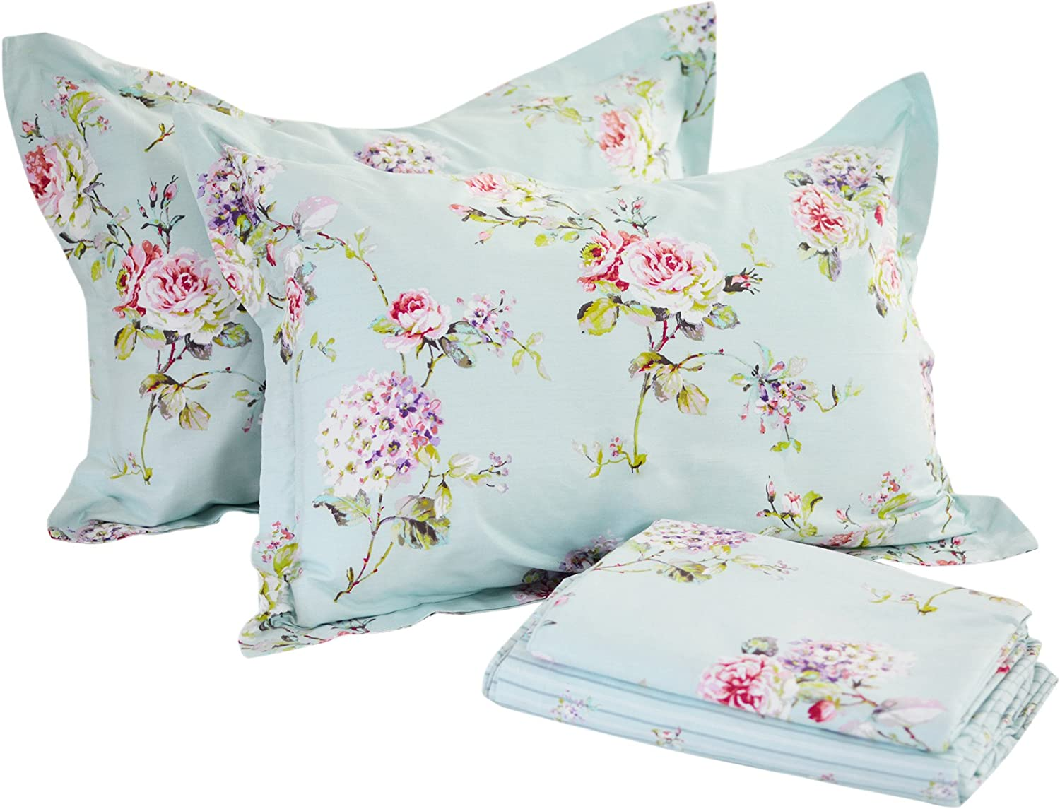 FADFAY Sheet Set Cal King Farmhouse Bedding pink and Hydrangea 100% Cotton Hypoallergenic bluee Floral Deep Pocket Fitted Sheet 4-Pieces Cal King