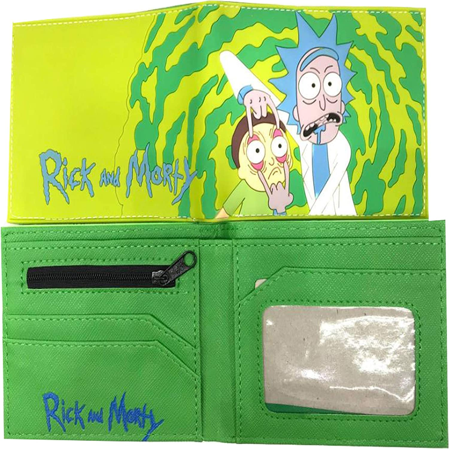 Marsheng Rick and Morty Wallet Faces PU Faux Leather Bifold Wallet for Adult and Kids waterproof
