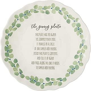 DEI 80841 Plate Ceramic Platter, 9.75 x 9.75 x 1.25, Green/White