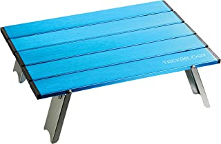 TREKOLOGY Collapsible Mini Table, Beach Table, Small Portable Folding Compact Tables, Bike Hike Camping Accessories - Keep Your Coffee, Drink, Food Items, Personal Gadgets Away from Sand and Dust