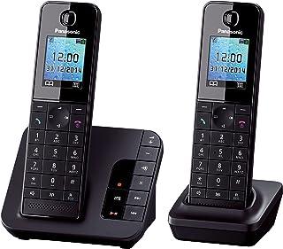Panasonic KX TGH222GB Komfort Telefon mit Anrufbeantworter, Wecker & Babyphone, Schwarz
