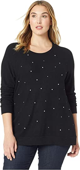 Plus Size Pearl Embellished Sweater