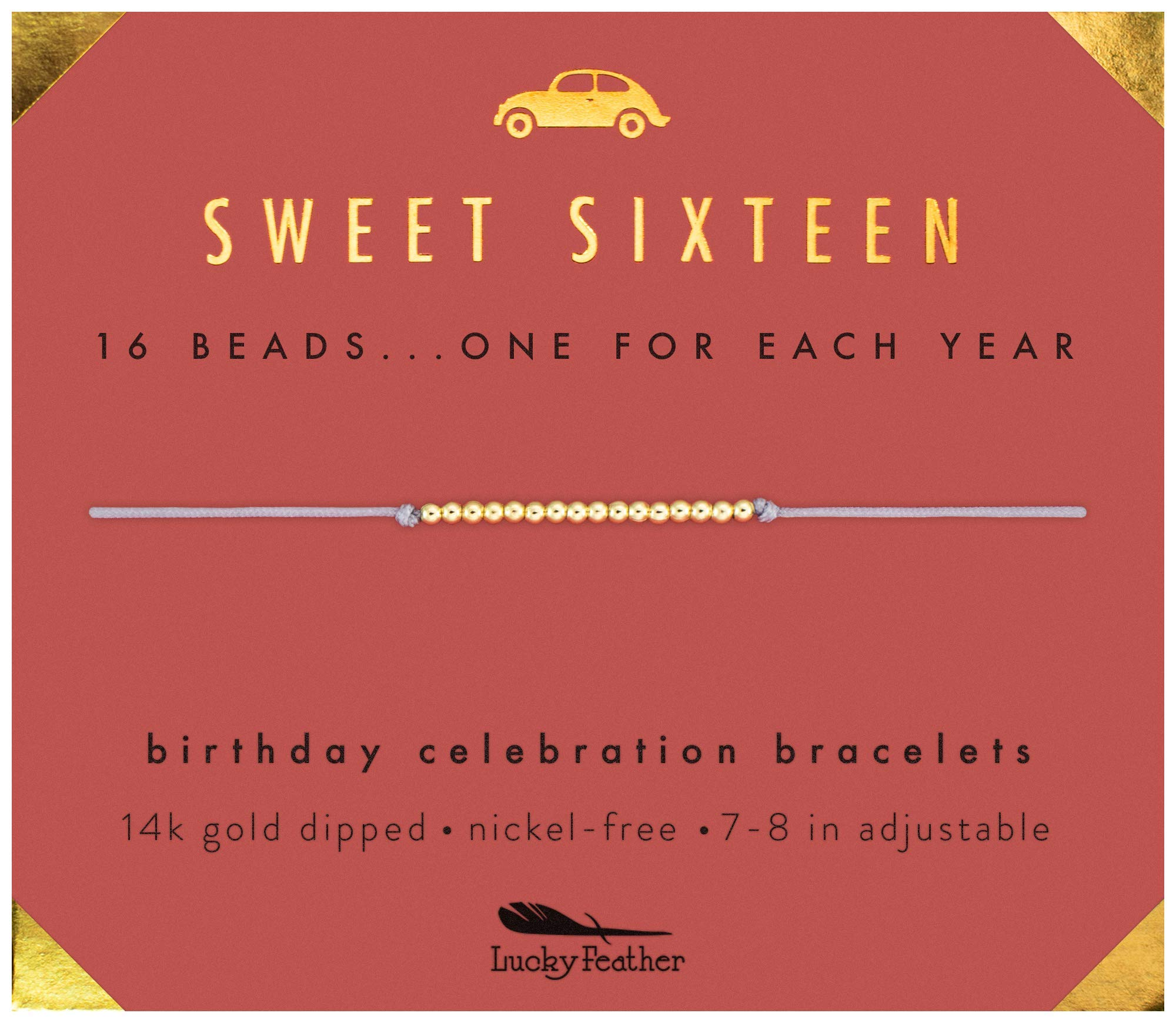 Lucky Feather Sweet 16 Gold Tone Birthday Bracelet Gift for 16 Year Old Girls with 14K  sc 1 st  Amazon.com & 16th Birthday Gift: Amazon.com