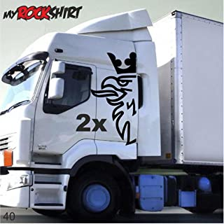 myrockshirt 2er Set Greiff Adler halb 120x40 cm Truck Trucker Aufkleber Anhänger Sticker `+ Bonus Testaufkleber Estrellina Glückstern ®, gedruckte Montageanleitung, Ver