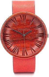 Rojo Reloje Mujer, Reloj de Madera, Reloj Ligero y Elegante, Caja para Relojes de Madera, 42 mm de diámetro