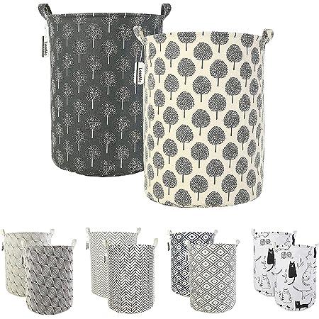LessMo Lot de 2 paniers à linge pliables, auto-déployants, étanches, ronds, en coton et lin
