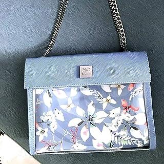 Designer Light Blue Floral Shoulder Bag for Women, Unique Small Vegan Handbag, 2 in 1 Women's Trendy Everyday Purse