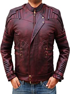 Mens Leather Jacket - Distressed Maroon Leather Jacket Men