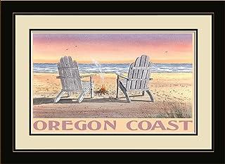 "Northwest Art Mall BA-4025 MFGDM ACB Oregon Coast Adirondack Chairs On Beach Framed Wall Art by Artist Dave Bartholet, 13""..."
