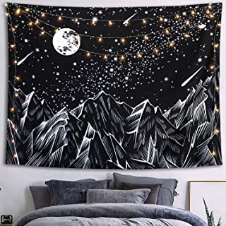 Neasow Moon Mountain Tapestry Wall Hanging, Black and White Nature Starry Night Sky Stars Tapestry with Meteor and Galaxy Bedroom Home Wall Decor 50�60 inches