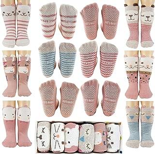 Tiny Captain Toddler Girls Socks Non Slip Grips Cartoon Animals 1-3 Year Old Gift Set
