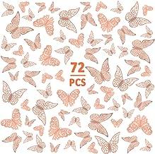 72 stuks 3D vlinders wanddecoratie muurstickers stickers vlinder decoraties stickers roségoud 3 maten