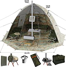 Winter Tent with Wood Stove Pipe Vent. Hunting Fishing Outfitter Tent with Wood Stove. 4 Season Tent. Expedition Arctic Living Warm Tent. For Fishermen, Hunters and Outdoor Enthusiasts. UP-5