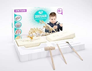 S'M TOYS Dinosaur Excavation Kit - Fun Educational Toy for Children Ages 4 and Up - Dino Fossil Dig Kit - STEM Science Project - Best Gift for Boys and Girls - All Tools Included