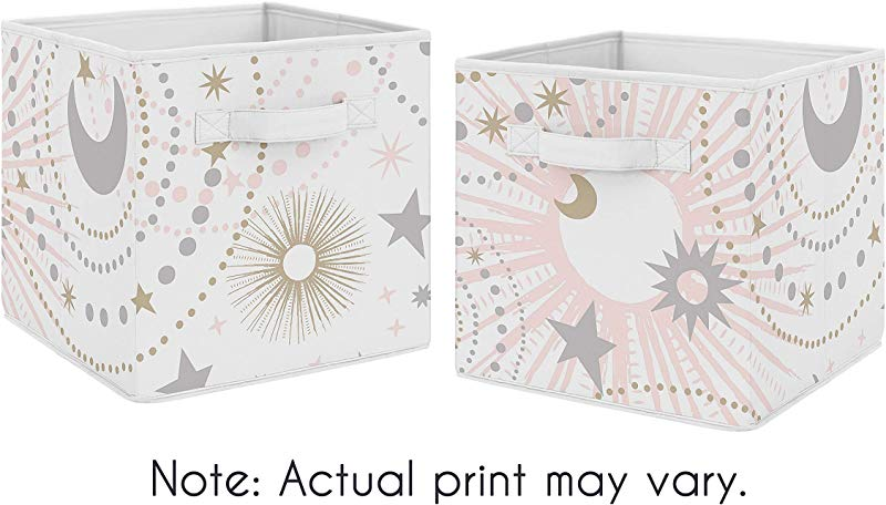 Sweet Jojo Designs Blush Pink Gold And Grey Star And Moon Organizer Storage Bins For Celestial Collection Set Of 2