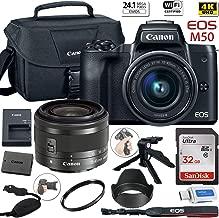 $599 » Canon EOS M50 Mirrorless Digital Camera with 15-45mm Lens (Black) + Canon Shoulder Bag + 32GB Sandisk Memory Card + Grip Steady Tripod + Grip Strap + Lens Tulip Hood & More.