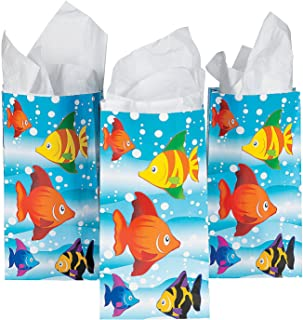 Fun Express - Tropical Fish Paper Bags for Party - Party Supplies - Bags - Paper Treat Bags - Party - 12 Pieces