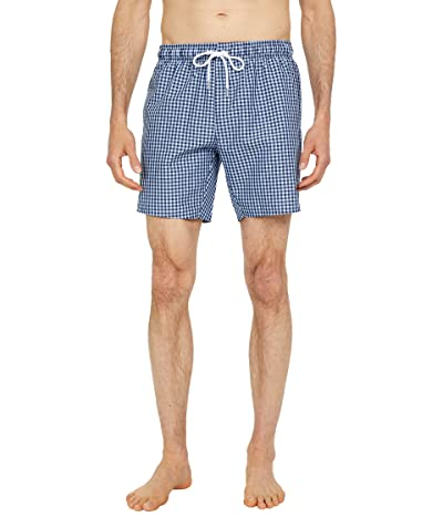 Lacoste Checked Boxed Swim Trunks with Badge on Right